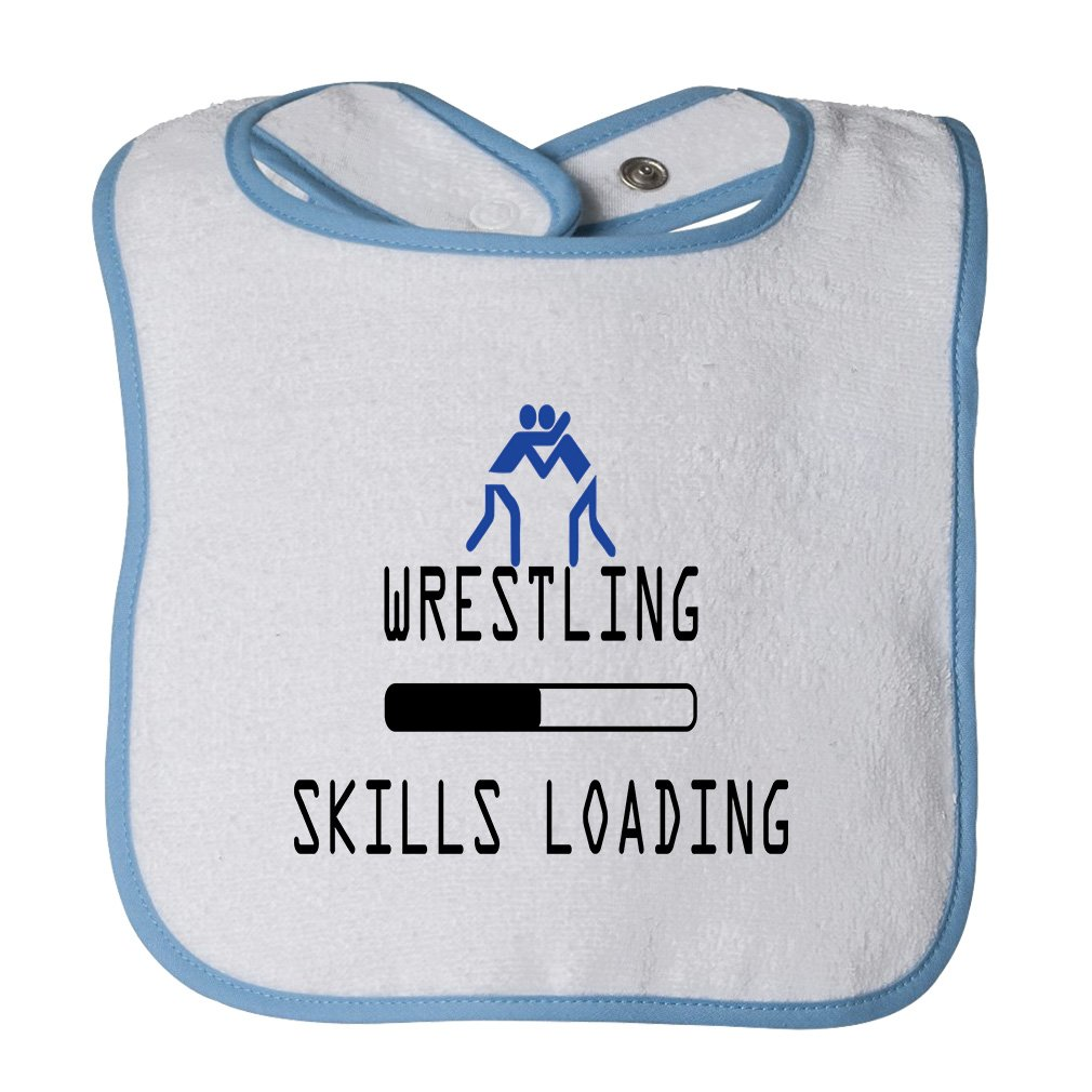 Wrestling Skills Loading Sport #2 Cotton Terry Unisex Baby Terry Bib Contrast Trim - White Blue, One Size