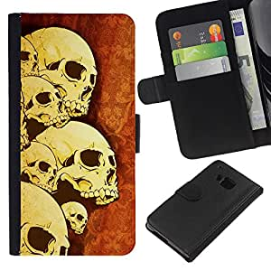 HTC One M9 , la tarjeta de Crédito Slots PU Funda de cuero Monedero caso cubierta de piel ( Skulls Skeleton Art War Death Anatomy Head)
