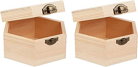 4x3 Inch Dedoot Wooden Box Natural Wood Box with Hinged Lid and Front Clasp for Crafting Making Jewelry Box OLYCRAFT 2PCS Unfinished Wooden Box Hexagon Unpainted Wooden Box