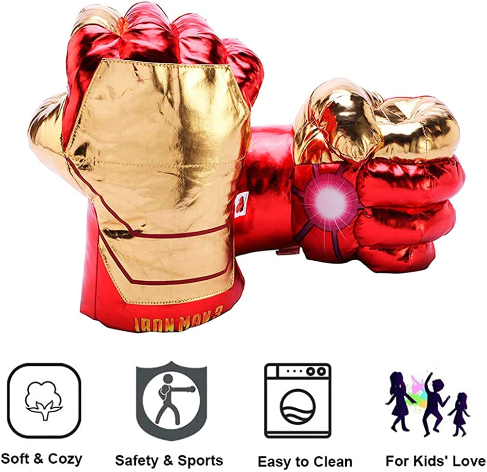 Ironman Avengers Superhero Hands Fists Toy Big Soft Plush Gloves Cosplay Costume Gift for Kids