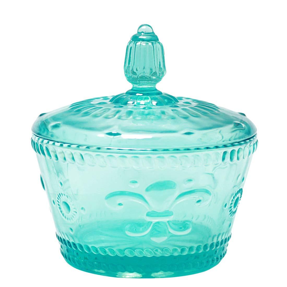 Jomop Glass Sugar Bowl with Lid Colorful 10 oz (Blue)