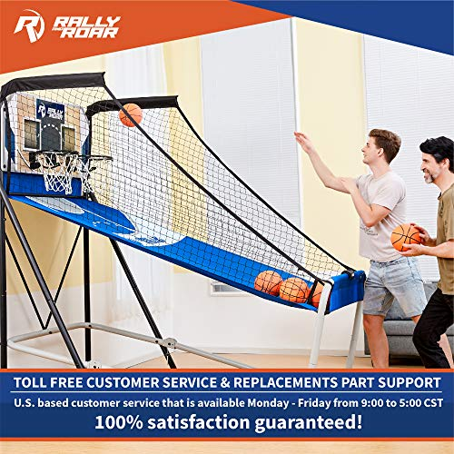 Premium Shootout Basketball Arcade Game, Home Dual Shot with LED Lights and Scorer - 8-Option Interactive Indoor Basketball Hoop Game with Double Hoops, 7 Basketballs, Pump - Foldable Space Saver by Rally and Roar (Image #6)