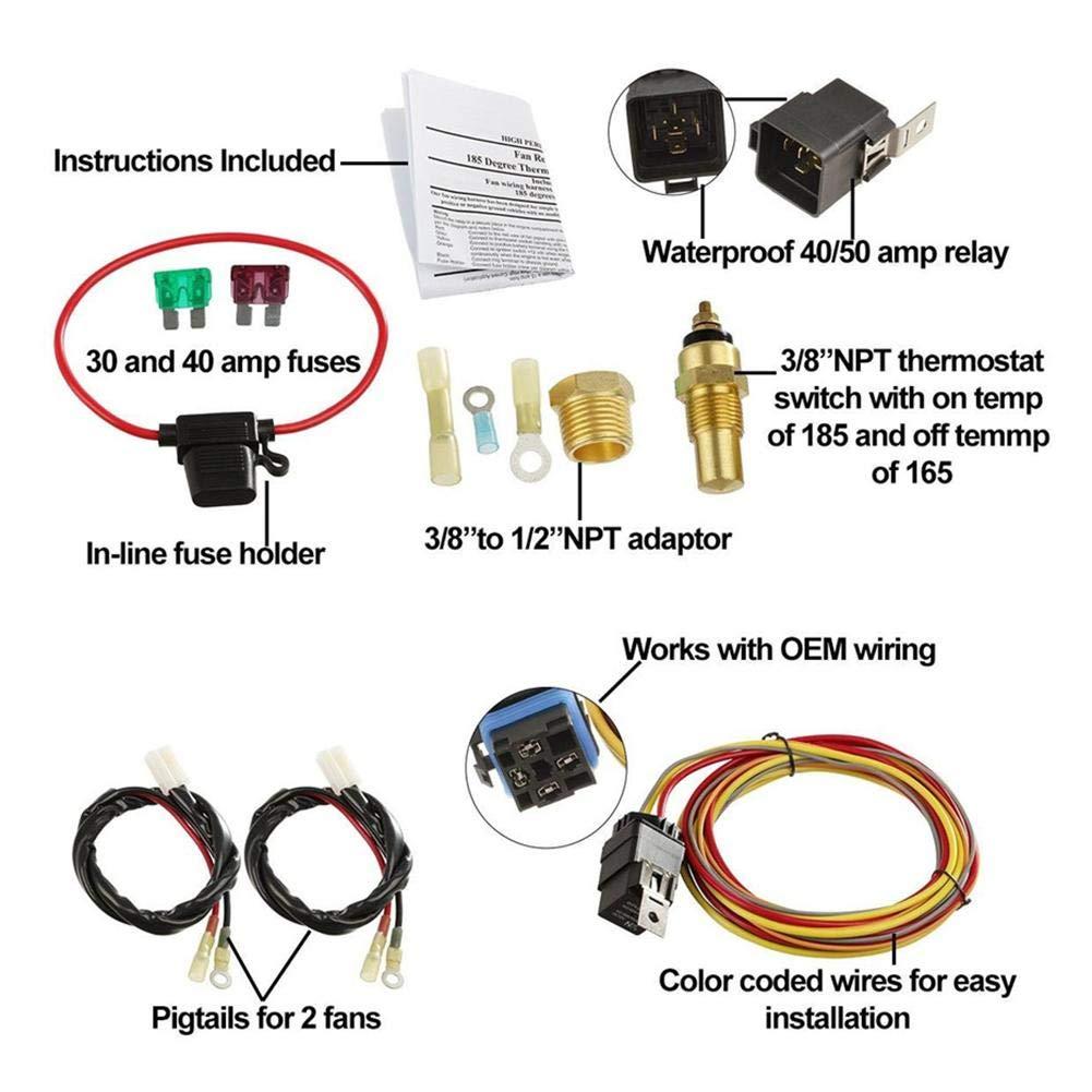 L/üfterk/ühlungskabelbaum chifans Kabelbaumsatz f/ür Zwei elektrische L/üfter Kabelbaum f/ür L/üfterk/ühlungszubeh/ör Fahrzeugkabelbaum Thermostat-Temperaturschalter-Sensor-Relaissatz