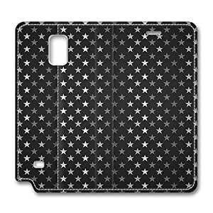 Brain114 Fashion Style Case Design Flip Folio PU Leather Cover Standup Cover Case with Stars Pattern Black And White Pattern Skin for Samsung Galaxy Note 4