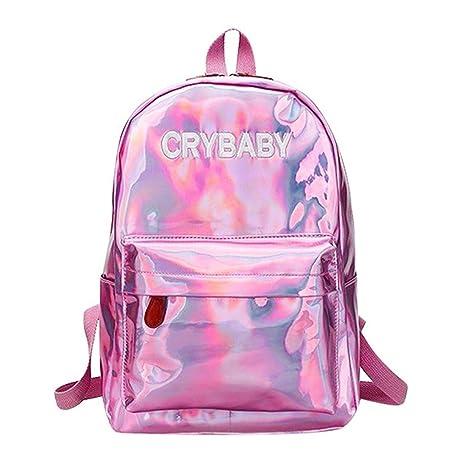 b8ff43cb3c 2019 New Fashion Mini Travel Bags Silver Blue Pink Laser Backpack Women  Girls Bag PU Leather