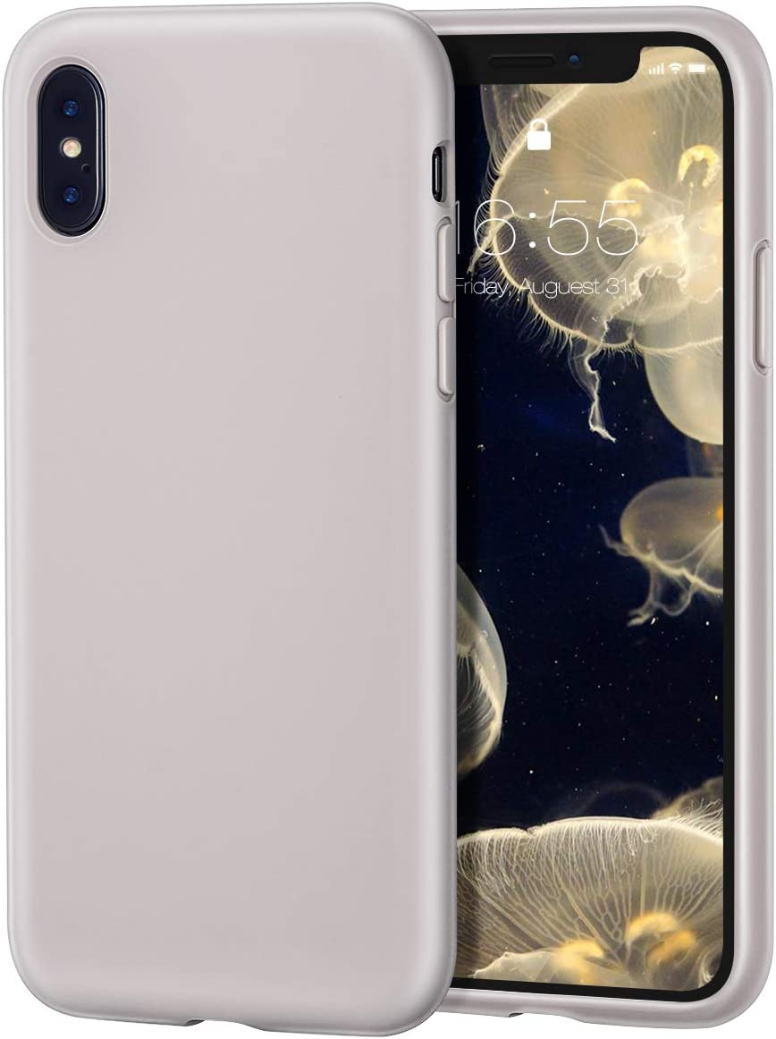 MILPROX iPhone X/Xs Silicone Series Liquid Silicone Gel Rubber Slim Fit Case with Soft Microfiber Cloth Lining Cushion for iPhone X/Xs -Light Purple