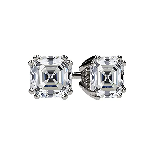 NANA .75-4.0ctw Swarovski Zirconia Asscher Cut CZ Stud Earrings Sterling Silver Solid 14k Gold Hypoallergenic Posts