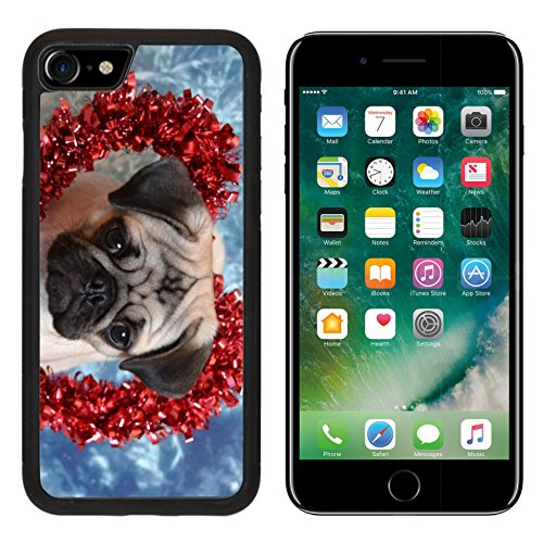 iPhone 7/7s Metal Phone Case,MSD Bumper Custom Alum Case Design for dog animal pug canine cute puppy mop portrait breed friend small pet isolated brown white (Mop Friends)