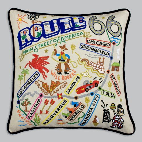 Catstudio Route 66 Pillow - Geography Collection Home Décor 080(CS) by Catstudio Embroidered Pillow
