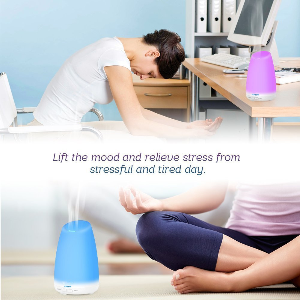 Essential Oil Diffuser, XPLUS 120ML Portable Ultrasonic Aromatherapy Diffusers with Multi-Changeable Colored LED Lights and Waterless Auto Shut-off Adjustable Mist Mode for Bedroom,Nursery or Office
