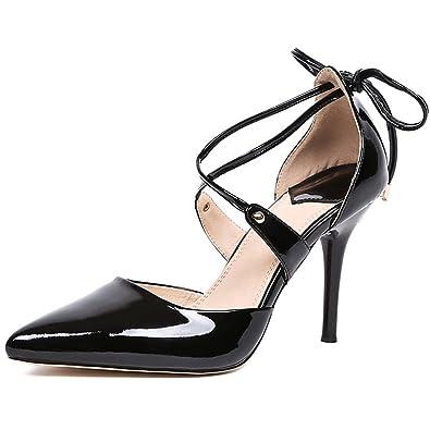 3edb1fd9e6 MINIVOG Summer Style Women's Lace Up high-Heeled Pointed Toe Bandage  Stiletto Ladies Shoes Black