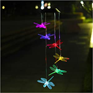 ZENQUAL Wind Chime Lights SolarDragonfly Color Changing Led Outdoor Waterproof Rechargeable Mobile Hanging Lights Garden Yard Patio Party Decoration Gift