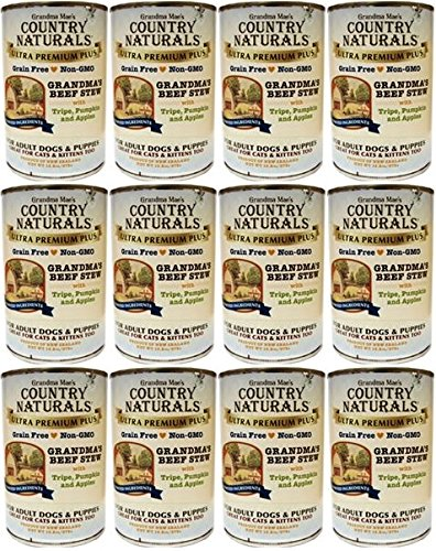 Country Naturals (Case of 12) Grandma Mae's Grandma's Grain Free Non-GMO Beef Soft Stew Canned Dog Food, 13.2 Oz. Per Can ()