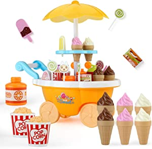 Sotodik Ice Cream Candy Cart 39 PCS Pretend Play Food Dessert and Cash Trolley Set Toys with Music and Lighting Kids and Girls Toyselody for Girls and Kids (Yellow)