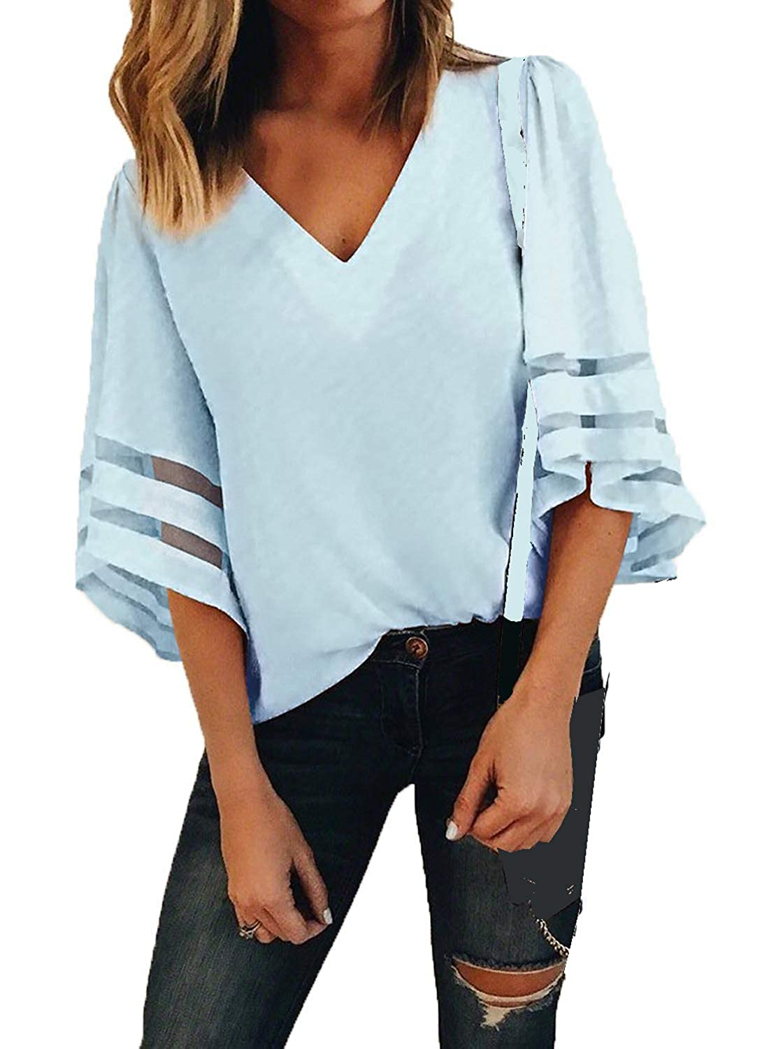 Charlotte Womens 3/4 Bell Sleeve V Neck Patchwork Blouse Casual Loose Shirt Tops Flare Sleeve Tops Bouse KKH666