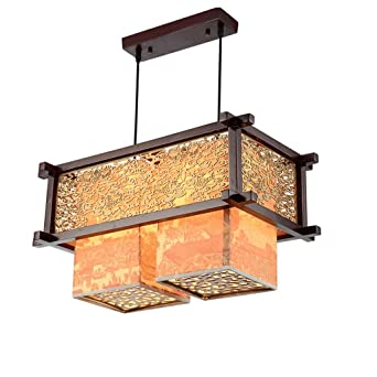 GIlight Moderne Japanische Art Massivholz 2 Lampe Kronleuchter Schlafzimmer  Wohnzimmer Küche Restaurant Pendelleuchte Exquisite Geschnitzte Kronleuchter