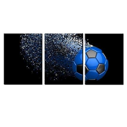 Amazon.com: Jingtao Art Blue Soccer Football Canvas Wall Art Prints ...