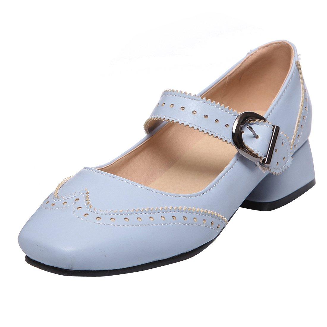 YE Damen Mary Janes Pumps Blockabsatz High Heels mit Riemchen Elegant Bequem Schuhe  39 EU|Blau