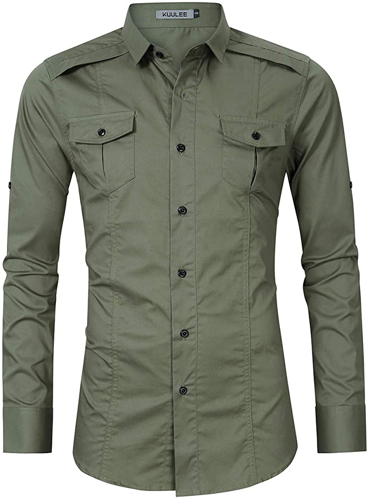 Mens Tactical Cargo Work Shirt Military Casual Slim Fit Long Sleeve Shirts Tops