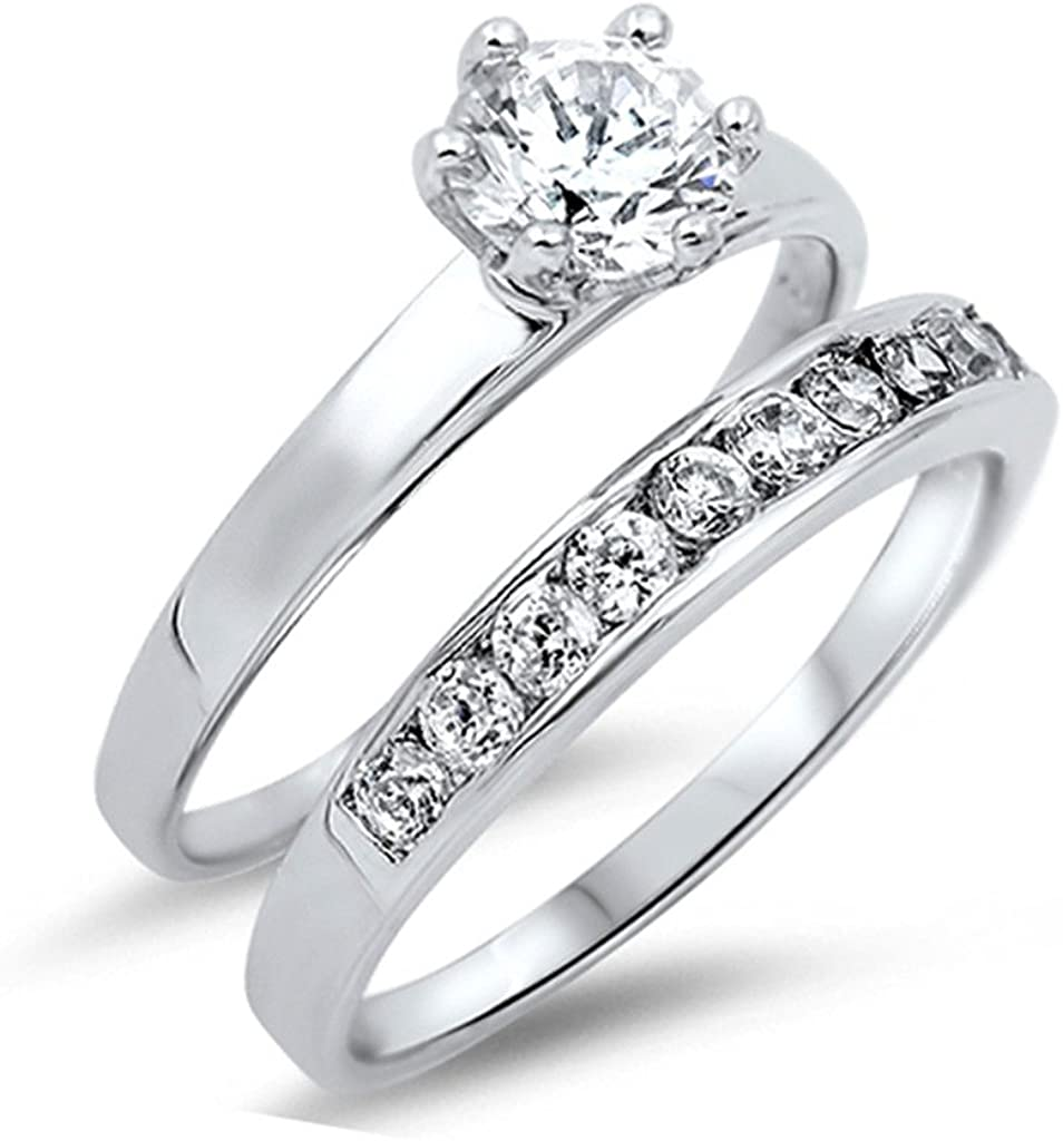 Women/'s Solitaire Wedding Ring White CZ New .925 Sterling Silver Band Sizes 5-10