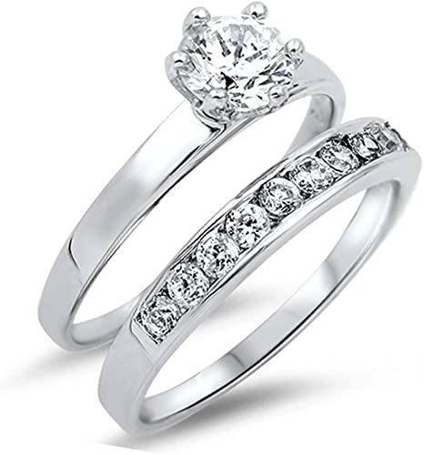 Sterling Silver 925 CZ Women/'s Bridal Engagement Wedding Band Ring Set Size 5-10