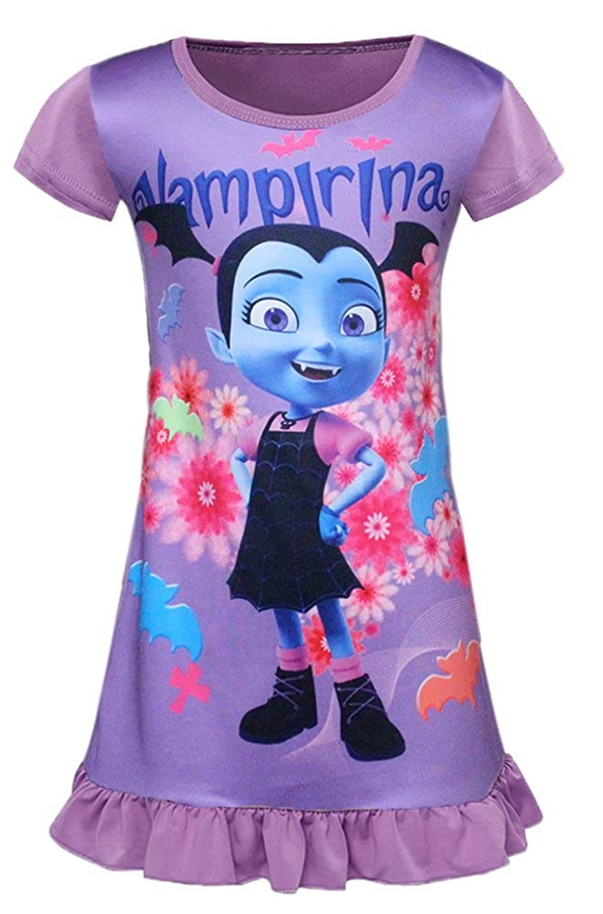 AOVCLKID Vampirina Comfy Loose Fit Pajamas Girls Printed Cartoon Princess Dress