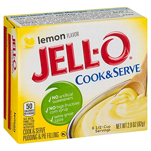 JELL-O Lemon Cook & Serve Pudding & Pie Filling Mix (2.9 oz Boxes, Pack of 6)
