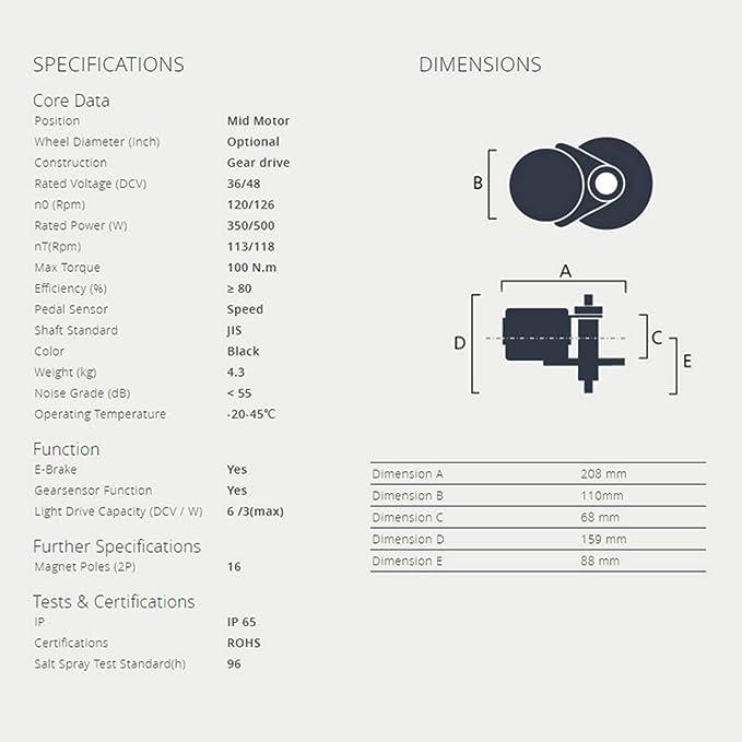 AD Pswpower Kit de Conversion E-Bike 44TP850C Afficheur Kit de Conversion de Moteur Central Bafang 36V 500W PEDELEC BF-BBS02B36V500W-G Entrep/ôt Allemand