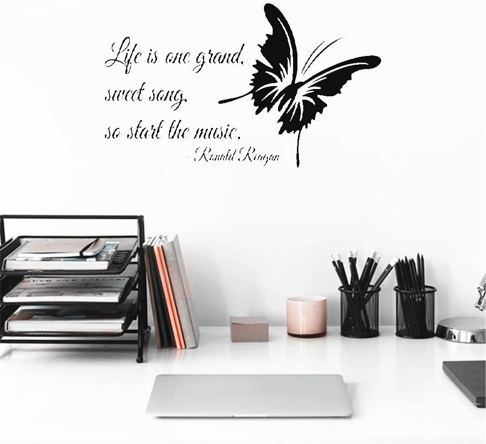 Amazon Com Quotes Wall Stickers Removable Vinyl Art Decal Life Is One Grand Sweet Song So That The Music Music Home Kitchen