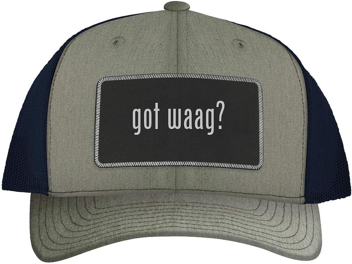 One Legging it Around got Waag? - Leather Black Metallic Patch Engraved Trucker Hat