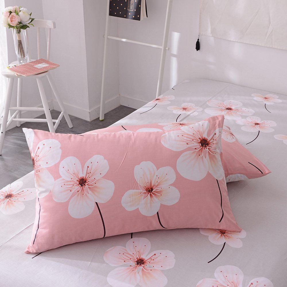 EnjoyBridal Flower Pattern Print Pillowcases, Anti-Wrinkle Reversible Pillowslip for Kids Boys Girls, 2 Piece 100% Cotton Lightweight Pillow Covers for All Reason, No Pillow (20''×26'', Pink-grey2)