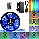 Gabkey 5050 LED Strip Light Kit - 16.4ft/5M Waterproof IP65 Flexible RGB LEDs Light Strips With IR Mini 24key LED Controller and DC 12V5A Power Adapter Built-in IC and Fuse