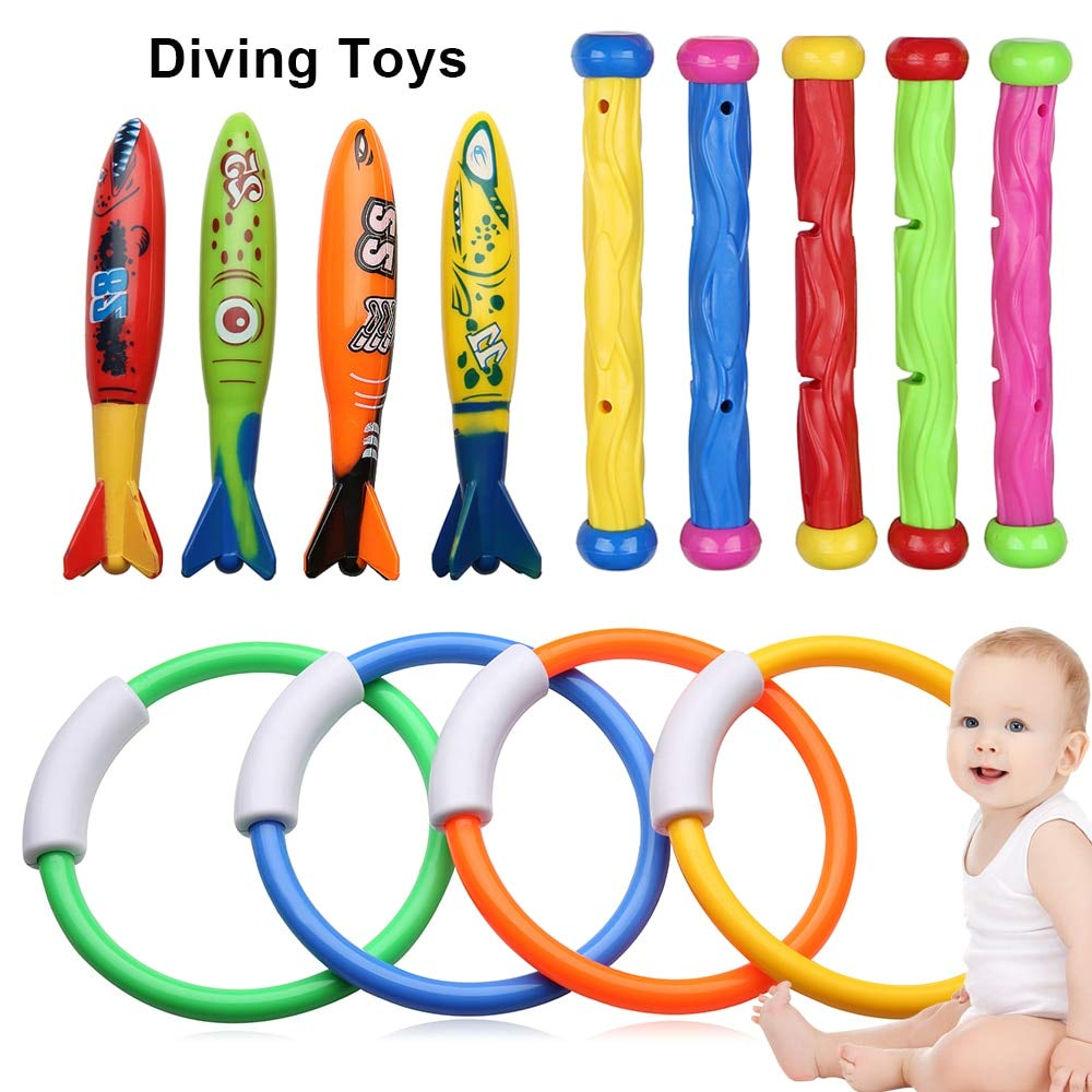 NUTY DESTY Dive Toys 13pcs Kids Children Diving Ring Water Toys Pool Summer Swimming Water Fun Loaded Throwing Underwater Dive Toys by NUTY DESTY