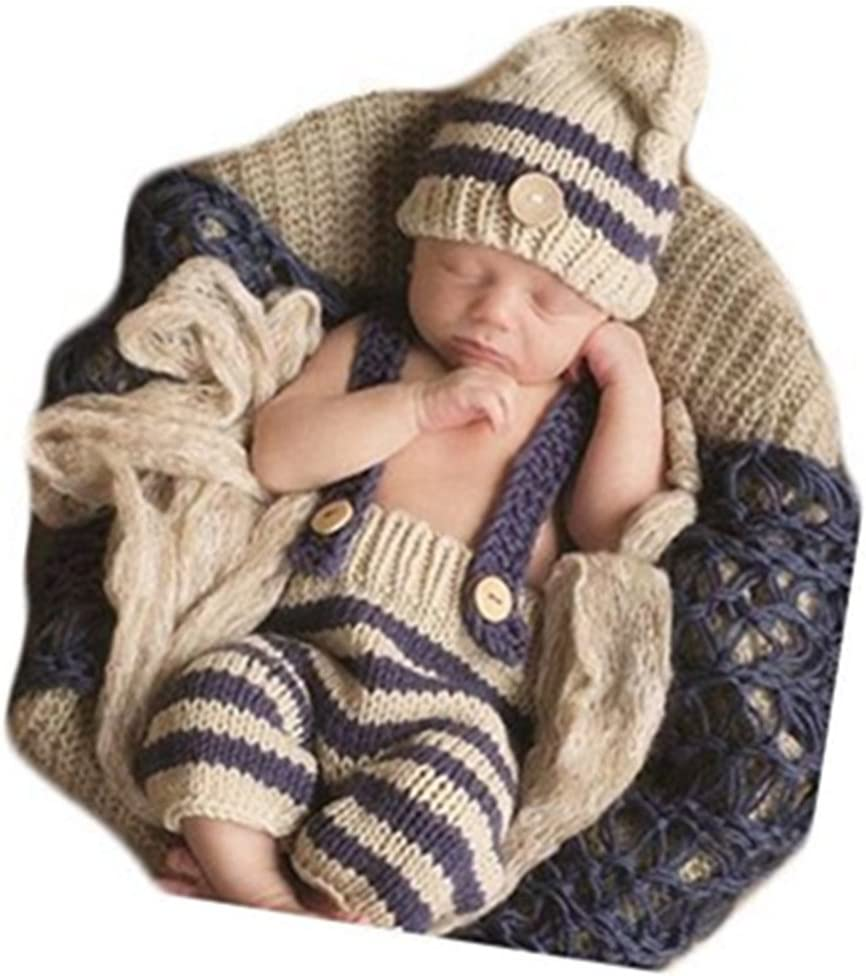 2pcs Newborn Baby Knitted Cap Toddler Underpants Photography Props Hat Outfits