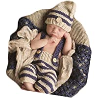Infant Newborn Baby Photo Shoot Props Girl Boy Clothes Crochet Knit Stripe Hat Shorts Photography Props Outfits Costume