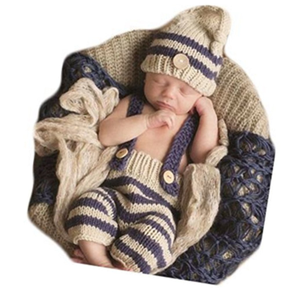 Buy Baby Photography Props Newborn Boy Girl Photo Shoot Outfits Lovely  Crochet Costume Infant Knitted Clothes Stripe Hat Pants Overalls Online at  Low Prices ... 3ec4fa5e7d13