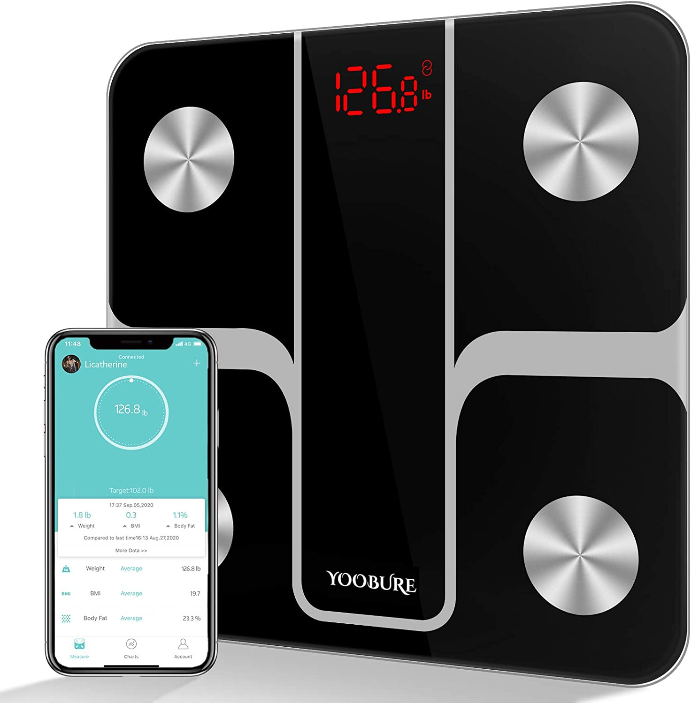 Yoobure Body Fat Scale Smart BMI Scale Digital Bathroom Wireless Weight Scale, Bluetooth Body Composition Analyzer Health Monitor