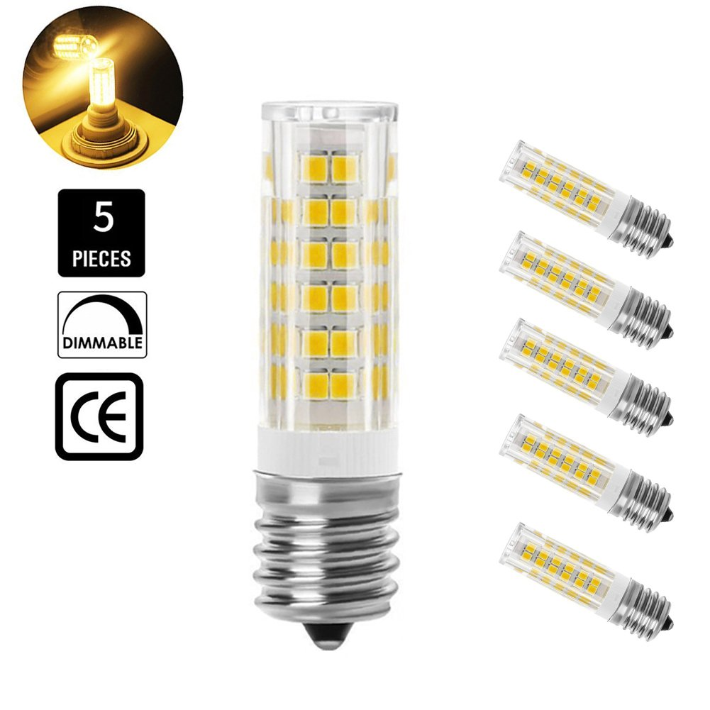 E17 Dimmable LED Bulb, 5W 3000K Warm White, for Microwave Oven, Freezer, Under-Microwave Stove Light,5-Pack