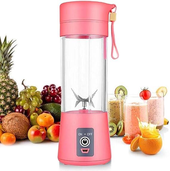 Licuadora personal [versión actualizada], vaso exprimidor portátil/mezclador de frutas eléctrico/batidora de zumo USB, recargable, seis cuchillas en 3D para una excelente mezcla, 380 ml rosa: Amazon.es: Hogar