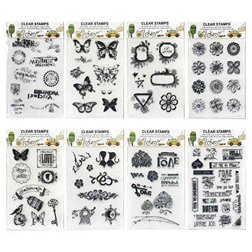 - 8 Sheets Mix Theme Silicone Transparent Clear Stamps Butterfly Flower Love Heart Friendly Phrases Stamps for Card Making Decoration and Scrapbooking