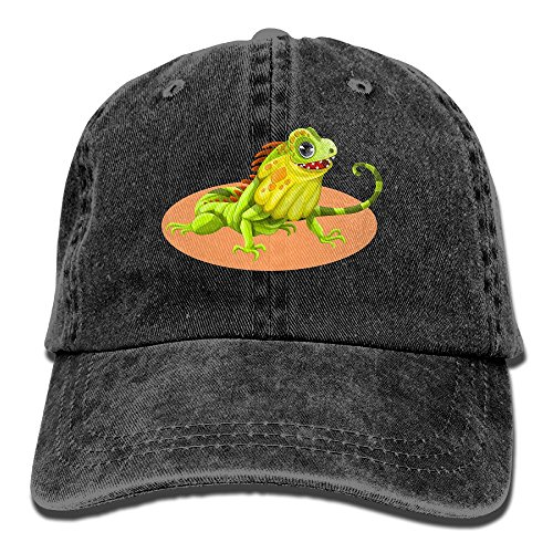 Green Reptile Adjustable Adult Cowboy Cotton Denim Hat Sunscreen Fishing Outdoors Retro Visor Cap ()