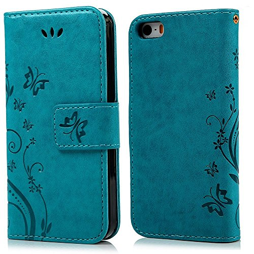 [iPhone 7 Case- SUNYI Vintage 3D Relief Emboss Cute Flower Flora Butterfly Pattern Premium PU Leather Card Slot Wallet Style with Kickstand Magnetic Flip Cover Case for iPhone] (Holloween Costumes Designs)