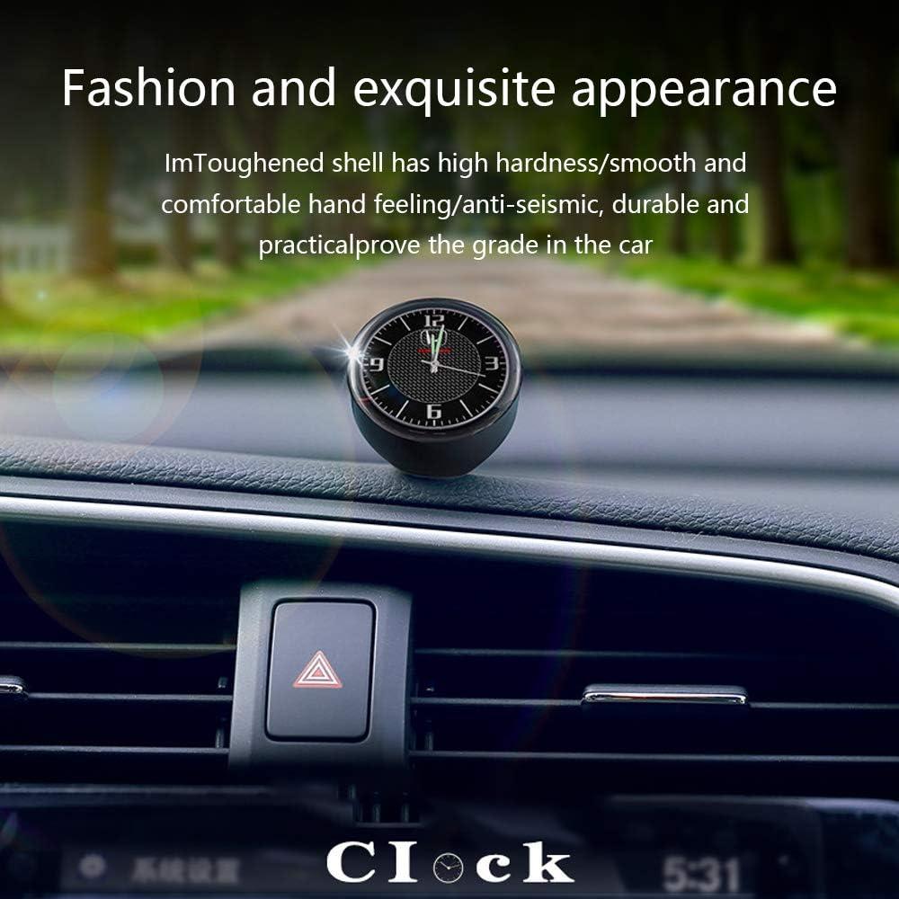 J.MOSUYA Auto Uhr Armaturenbrett Mini Clock Innere Zubeh/ör Hohe Genauigkeit Quarz Leuchtzifferblatt mit Vent Clip