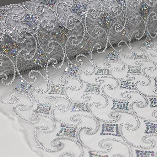Scalloped Sequin (Silver Geometric Diamond Vector with Sequin Embroidery Scalloped Edge on 54'' Mesh Lace Fabric)