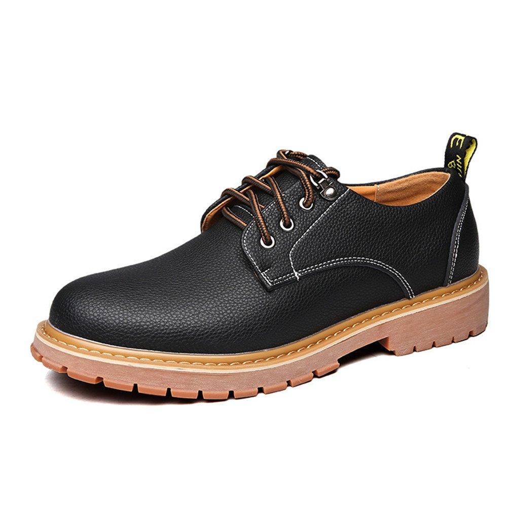 Black JUJIANFU-shoes Simple Men's Work shoes PU Leather Casual Lace Up Soft Outsole Flats