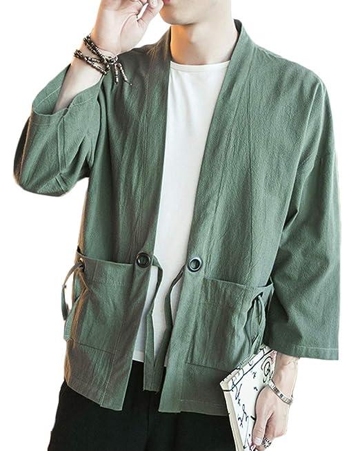 Mirecoo Fashion Mens Cotton Linen Blends Vintage Cloak Open Front Short Coat One Button Jacket Men