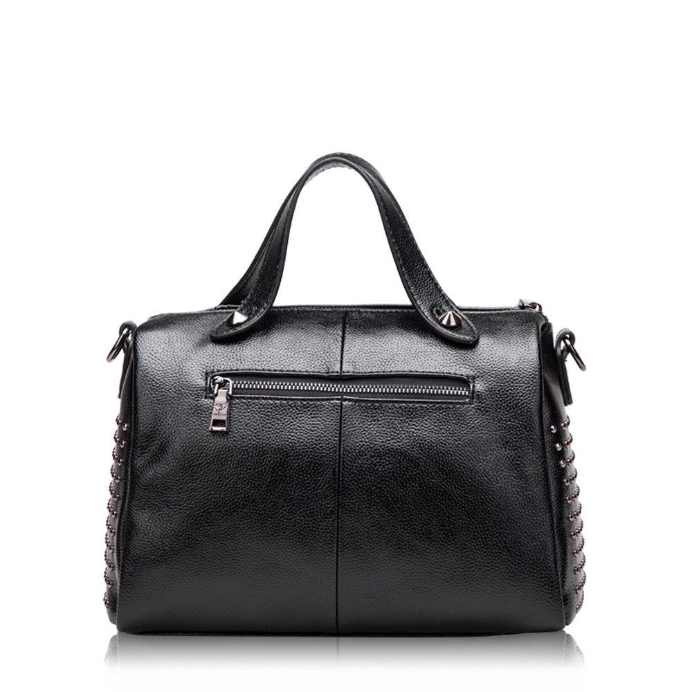 Mn/&Sue Womens Doctor Style Rivet Studded Genuine Leather Top Handle Barrel Lady Purse Boston Satchel bag