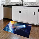 Soft Microfiber Shag Bath Rug Warning Signs with Alien ces Heads Galactic Paranormal Activity Weather-Proof and Mold W17''xH14''