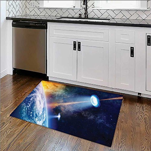 Soft Microfiber Shag Bath Rug Warning Signs with Alien ces Heads Galactic Paranormal Activity Weather-Proof and Mold W17''xH14'' by SCOCICI1588