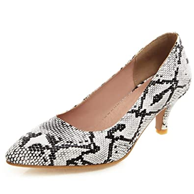 bb7374c53495 DecoStain Women s Sexy Snake Skin Kitten Heel Office Pumps Pointed Toe Slip  On Plus Size Dress